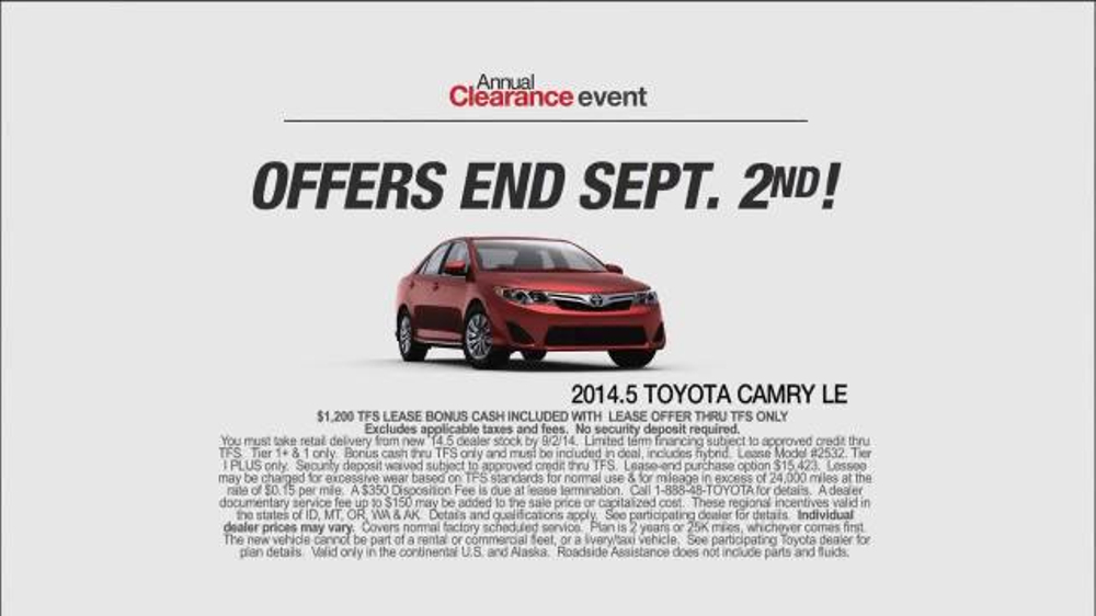 2014 Toyota Camry LE TV Commercial, 'Annual Clearance