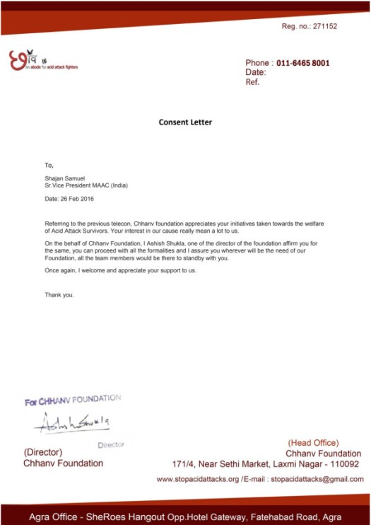 Consent letter from Chhanv Foundation .