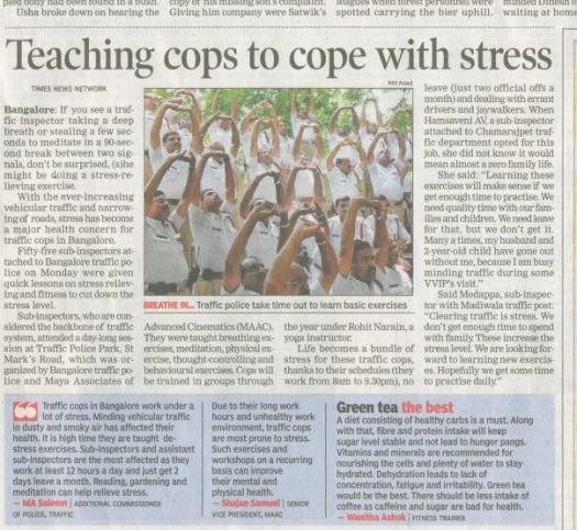 Stress Management Workshop for Blr Traffic Police