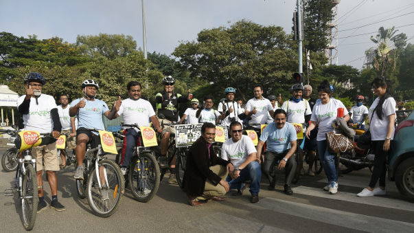 Peace Bycycle Rally - Bangalore .