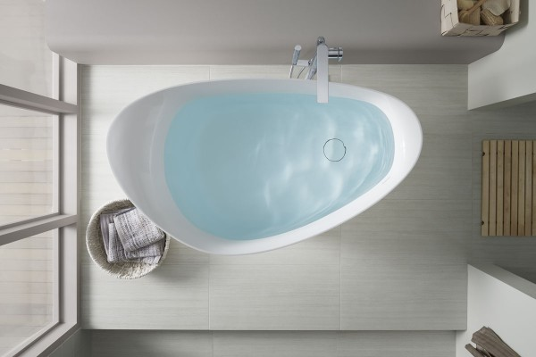 Overhead view of the Veil freestanding bath from Kohler