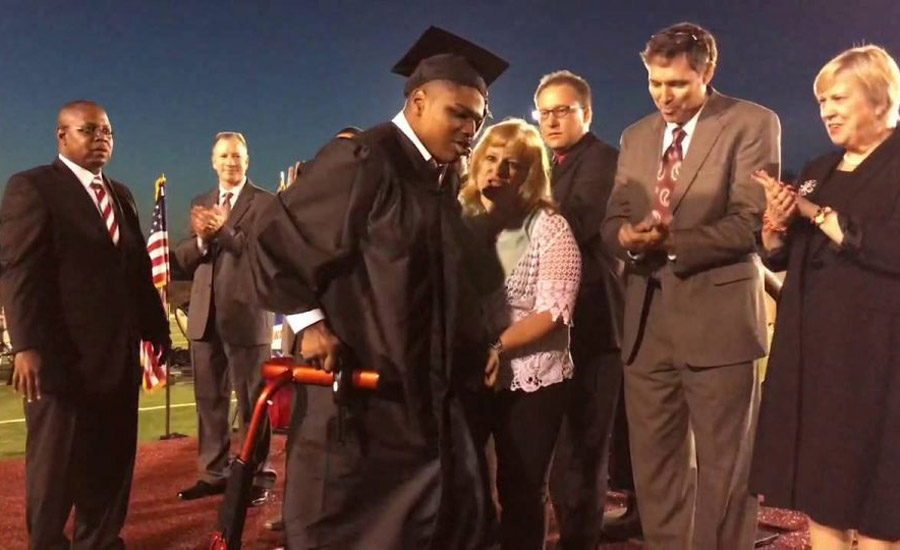 High School Senior With Cerebral Palsy Walks For First