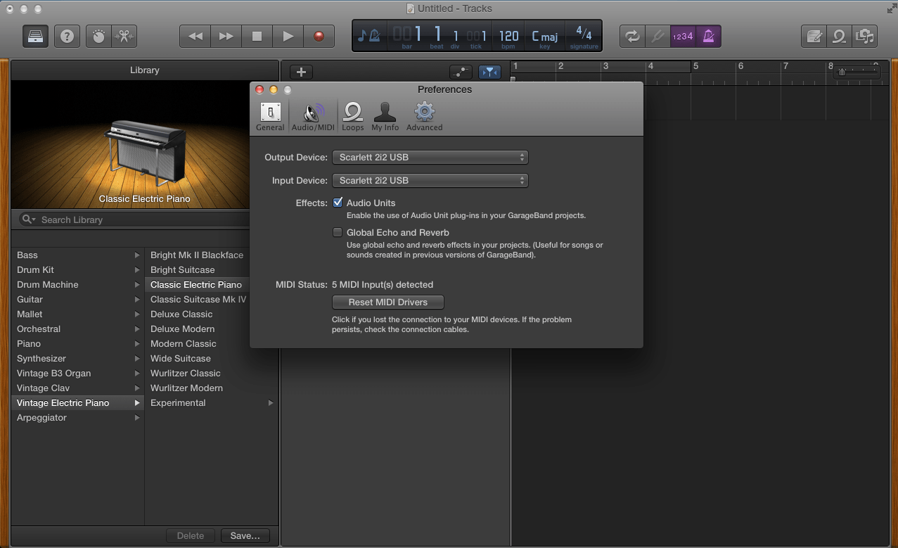 Selecting Inputs Outputs In Garageband Focusrite Audio Engineering
