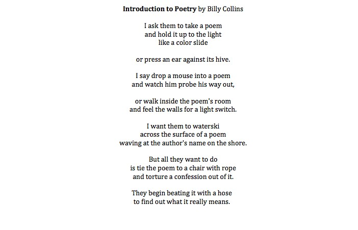 Write About Introduction To Poetry By Billy Collins