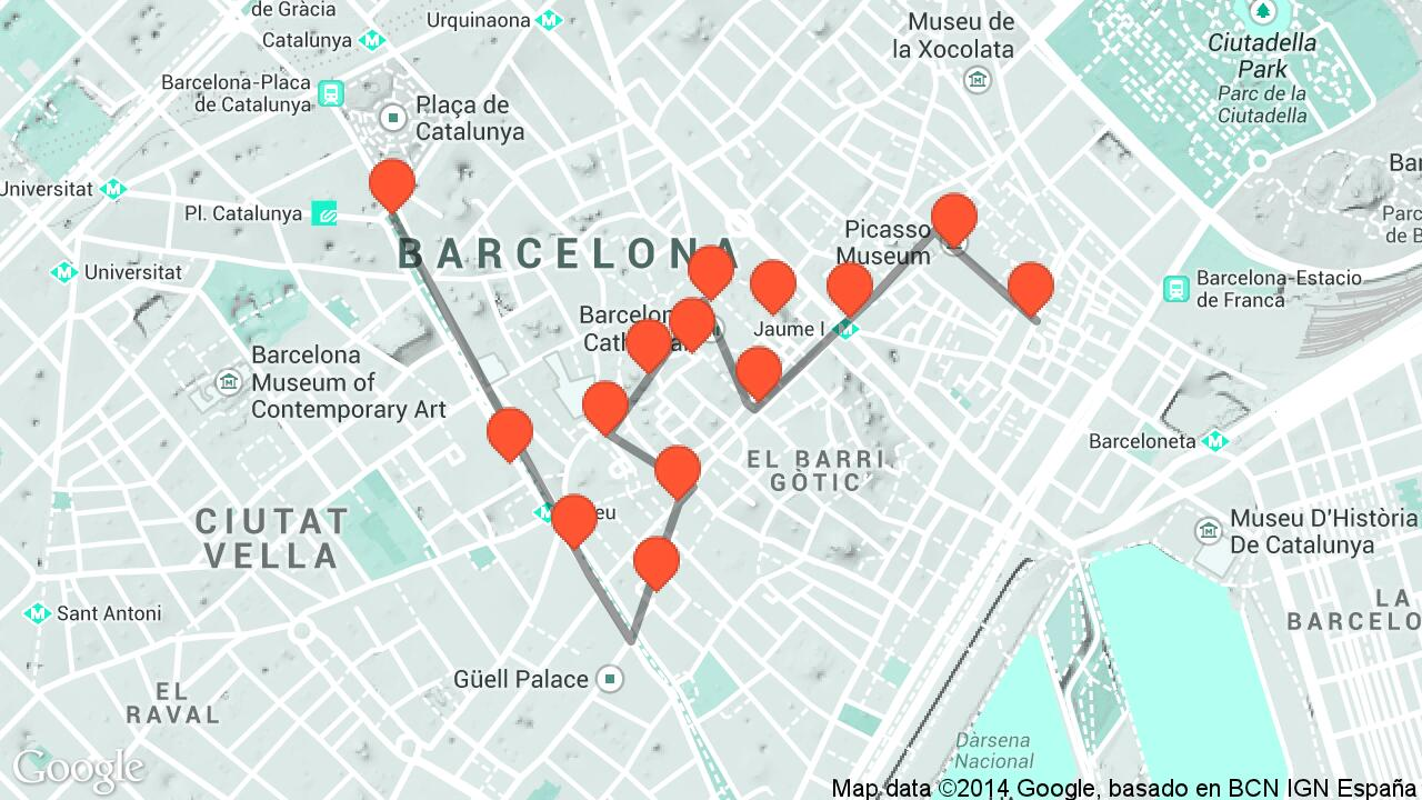 Barri Gotic Barcelona Walking Map