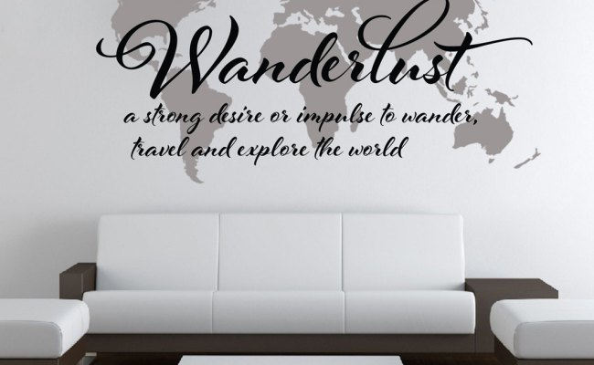 Wanderlust Travel Quote World Map Wall Art Decal On Storenvy