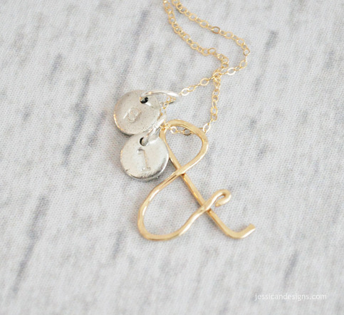 14K Gold Ampersand & Initial Necklace