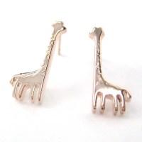 Giraffe Animal Stud Earrings in Light Bronze  DOTOLY ...