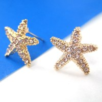 Small Starfish Star Shaped Stud Earrings in Gold with ...