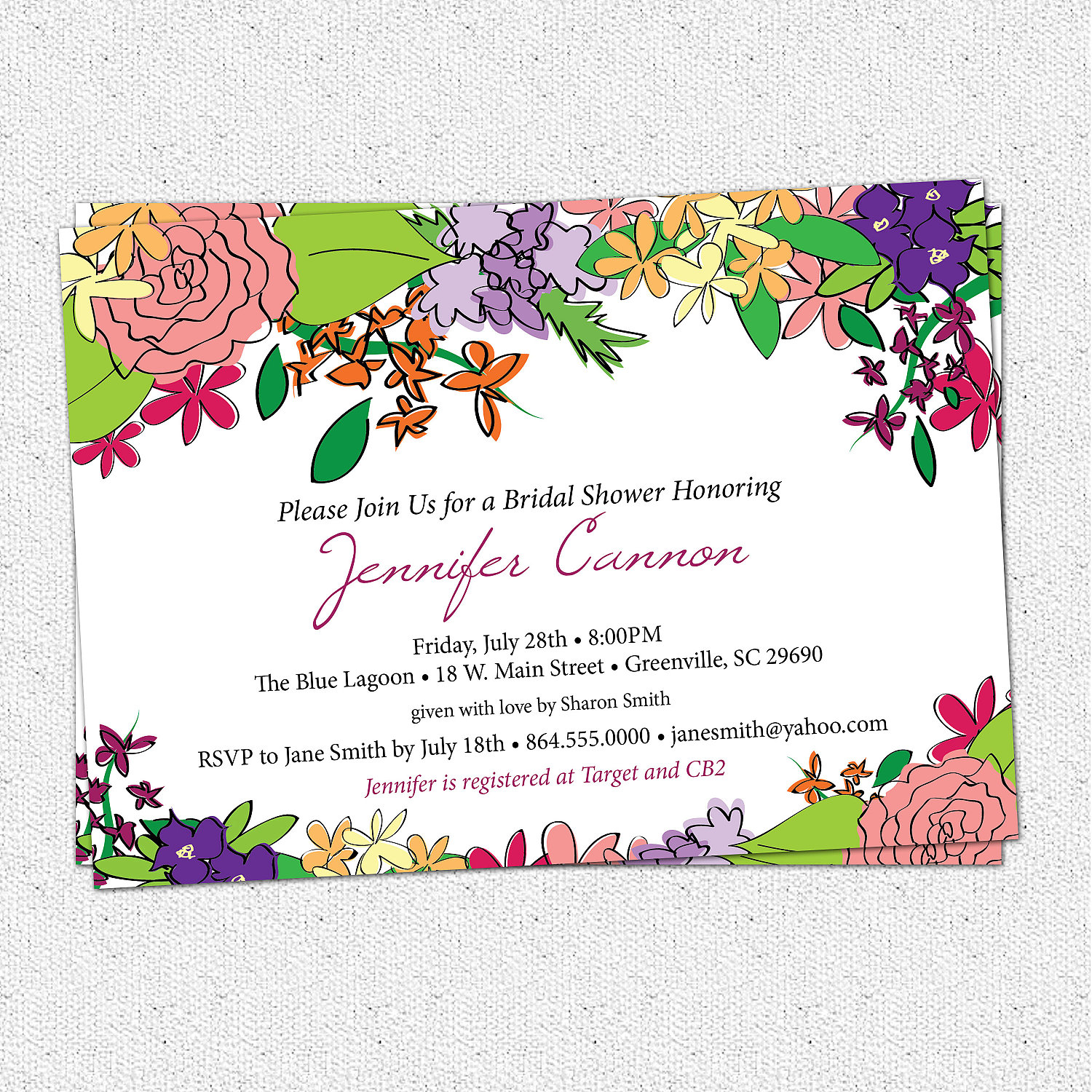 Printed Bridal Shower Invitations Sale