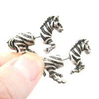 3D Fake Gauge Realistic Zebra Shaped Animal Stud Earrings ...
