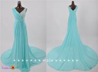 Tiffany Blue Bridesmaid Dress, Long Blue Chiffon Dress ...