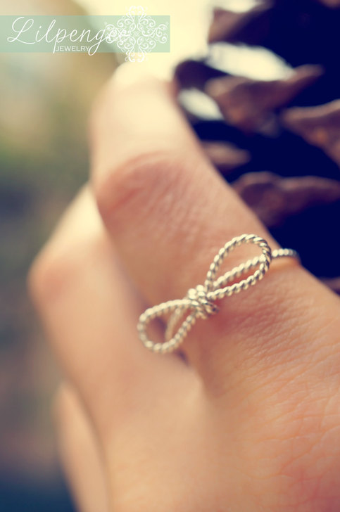 Tied No6 Skinny Twisted Rope Bow Rings Silver Bow Ring