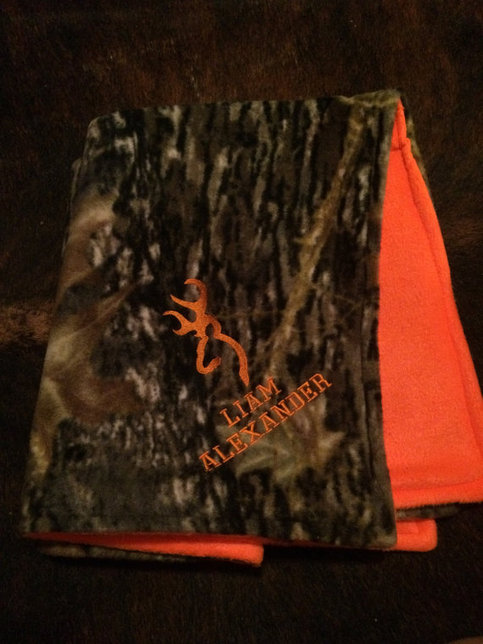 Cuddly Camo  Orange Fleece Personalized Baby Blanket with Deer Head on Storenvy