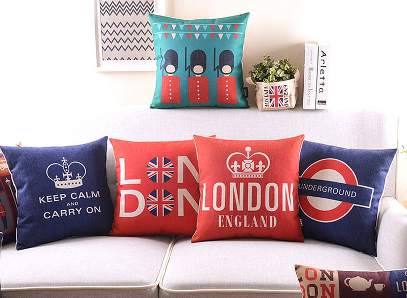 Vintage London Print Cushions Queen's Guard Keep Calm & Carry On