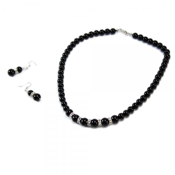 Elegant Crystal Pearl Necklace Decorative Ring Black
