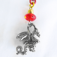 Dragon Chain Ear Cuff or Bajoran Earring in Red and Gold