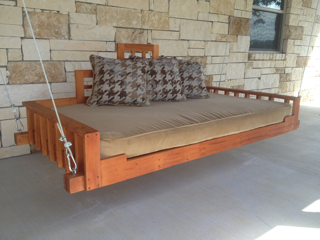 Swing Bed Porch Swing Outdoor Bed Hanging Bed Swing Handmade With Mahogany Wood Sold By Industrial Envy On Storenvy