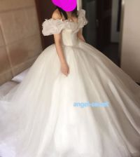 P303 Movie Costume Cinderella 2015 Ella white dress