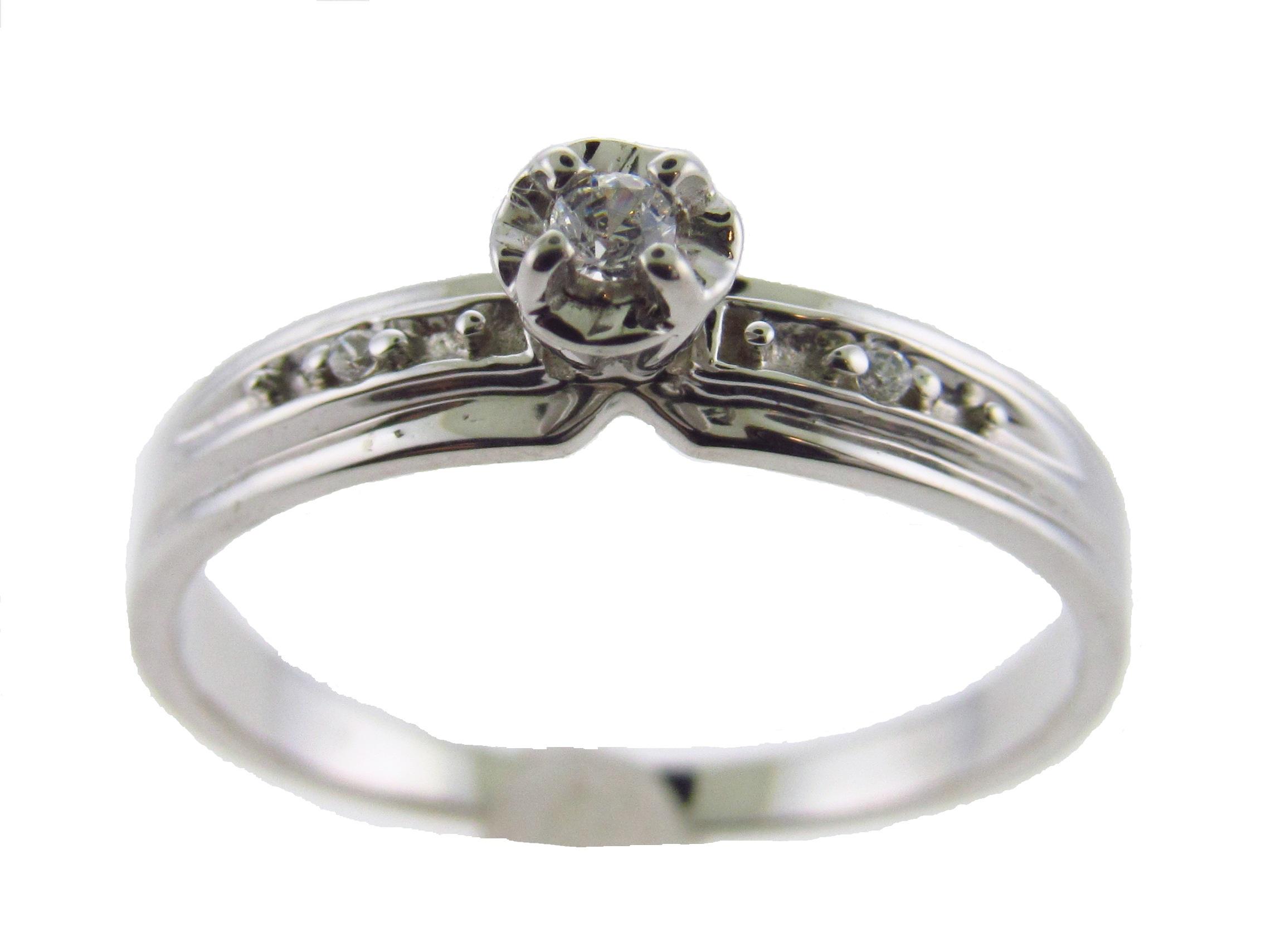 Genuine Diamond Engagement Ring Promise Ring 10kt White