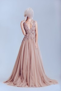 Dusty pink prom dress, tulle prom dresses, off shoulder ...