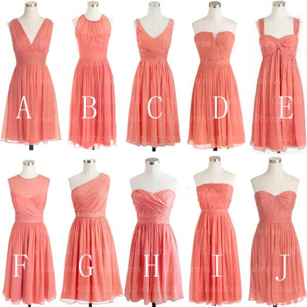 Coral Bridesmaid Dress, short Bridesmaid Dress, Mismatched