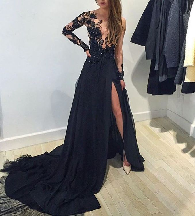 Amazing Luxury Prom Dress, Black Lace Long Sleeve Prom