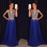 Sexy Beaded Blue Prom Dress with Beaded Belt, Hot Open ...