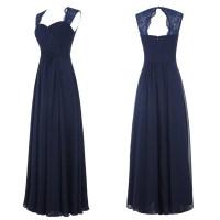 Navy Blue Chiffon Long Bridesmaid Dresses with Lace, Navy ...