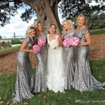 Short Silver Bridesmaid Dresses
