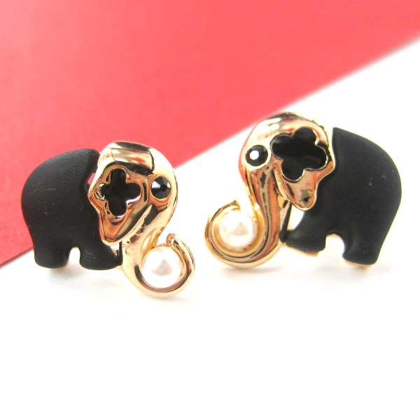 Mother And Baby Elephant Stud Earrings In Black With Pearl