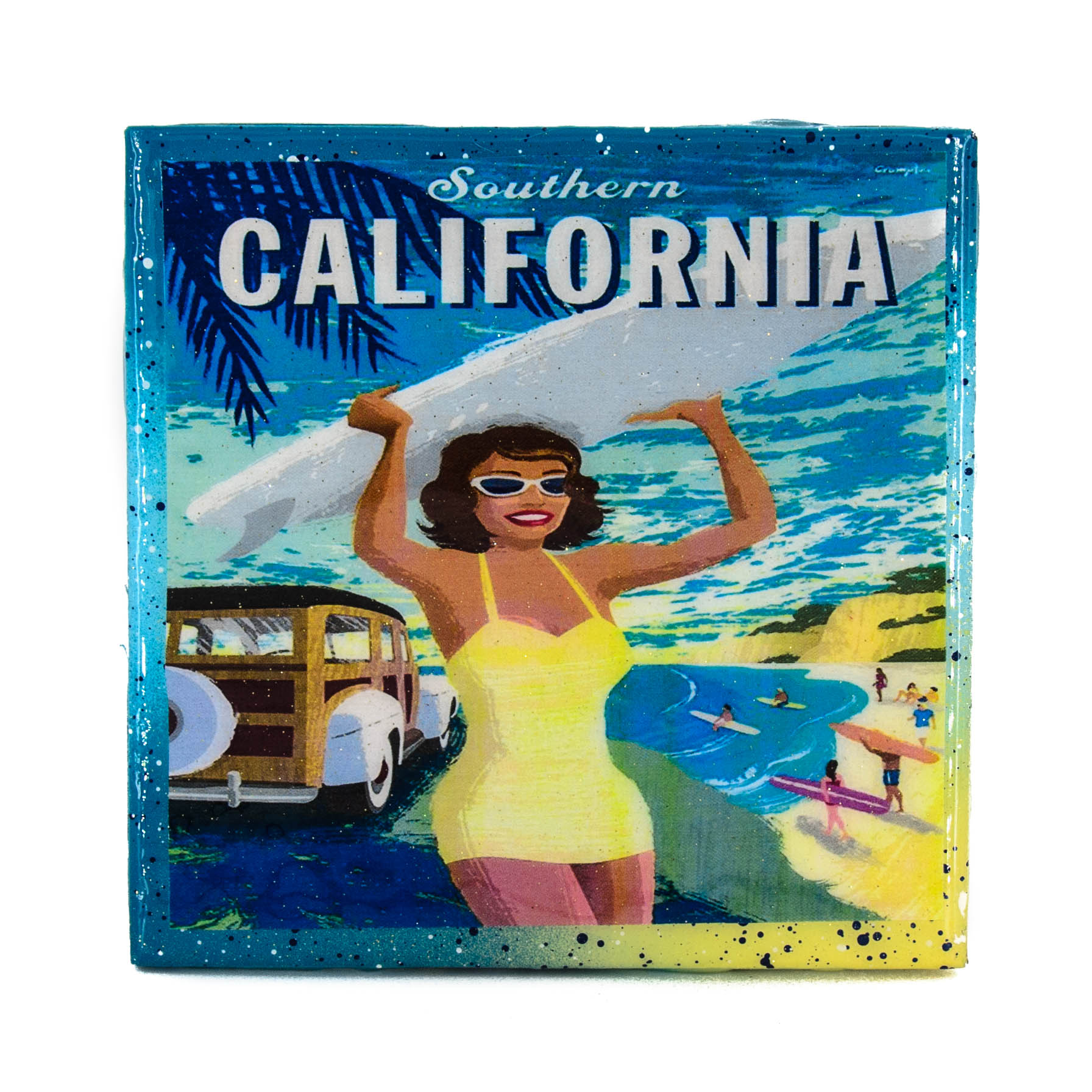 Handmade Coaster Vintage Travel Ad Southern California Surfer Girl Recycled Tile Coaster Sold By Stella Divina On Storenvy