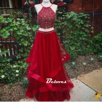 Beaded Red Halter Two Piece Prom Dress ,Formal Gown ...