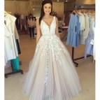 White Deep V-Neck Lace Prom Dress