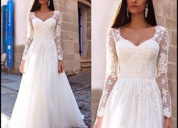 369cba147651 Long Sleeve Lace Wedding Dress Lace Ball Gown Vintage Bridal Gown Hc1783  From Didopromcouture · Popular ...