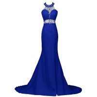 Sexy Beaded Halter Trumpet Prom Dress, Royal Blue Sequins ...