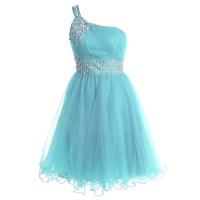 Trendy One Shoulder Short Prom Dress, Sequins Belt Lace-up ...