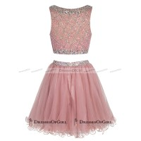 Bateau Neck Illusion Pink Short Prom Dress, Crystal Beaded ...