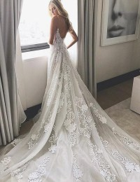 2017 Wedding Dress, White Lace Long Wedding Dress, Bridal ...