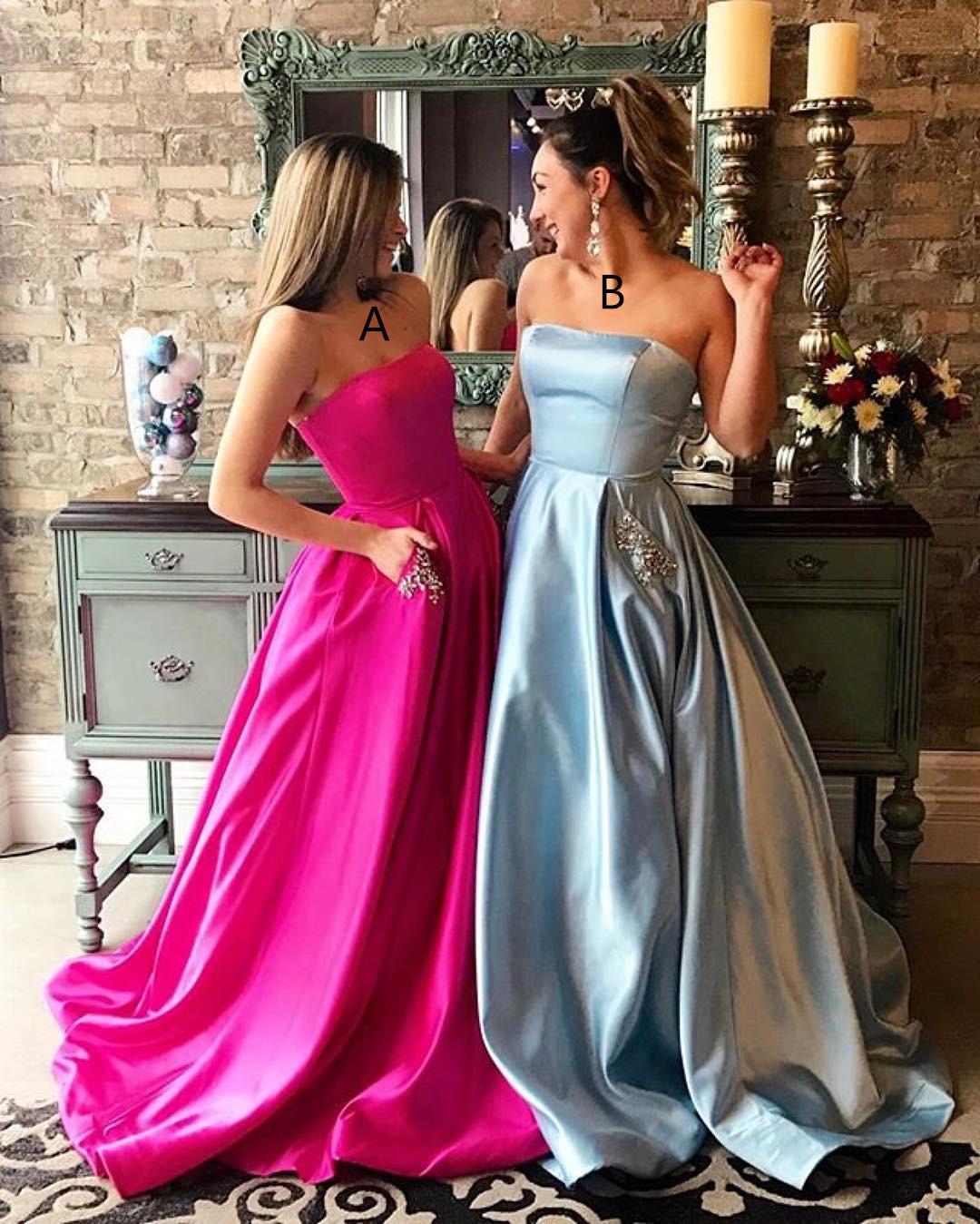 2017 Long Prom Dress Light Prom Dress Hot Pink Prom DressStrapless Prom Dress  modsele