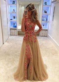 2018 Prom Dress,Unique champagne tulle applique long prom ...
