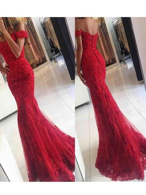 Vintage Off Shoulder Red Lace Mermaid Prom DressLong Evening Party DressLong Prom Dress on