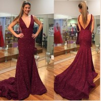 Burgundy Lace Prom Dresses,V-neck Mermaid Evening Dresses ...