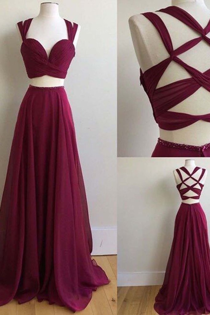 Sexy Two Pieces Evening Prom Dresses Burgundy Band Chiffon prom dresses Long prom dresses