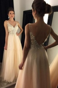 Champagne A-line V-neck beading long prom dresses,evening ...