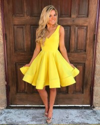 yellow v neck swing party dress,short prom homecoming ...