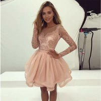 Light pink lace long sleeve prom dress, short evening ...