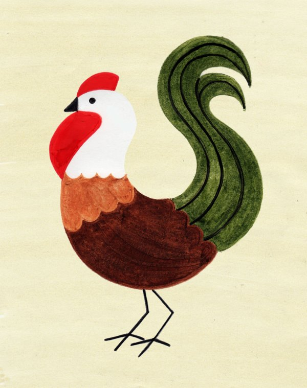 Chicken Rooster Art Print Retro