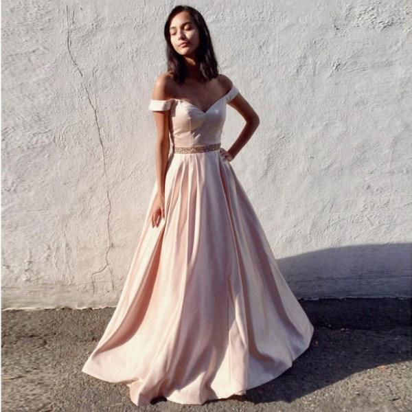 Elegant Shoulder Prom Dress Pink Line Formal