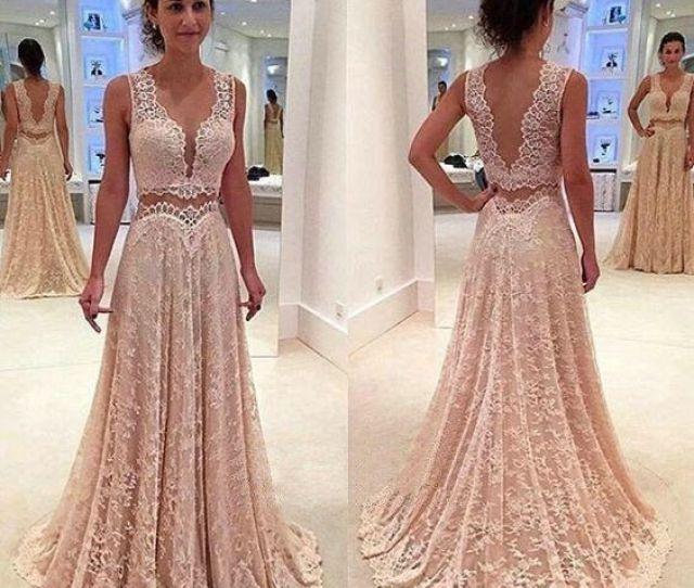 Deep V Neck Unique Long V Back Lace Prom Dresseslong Prom Dress On Storenvy